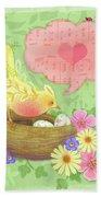 Yellow Bird's Love Song Bath Towel