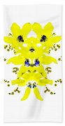 Yellow Blue Blossoms Bath Towel