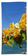 Yellow Bougainvillea Over The Mediterranean On The Island Of Cyprus Bath Towel