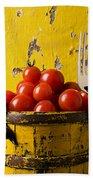 Yellow Bucket With Tomatoes Bath Towel