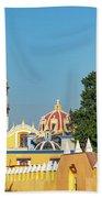 Yellow Church In Cholula, Mexico Bath Towel