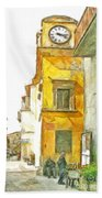 Yellow Clock Tower Hand Towel