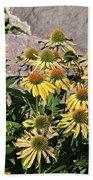 Yellow Echinacea, Straw Flowers Gray Stone Background 2 9132017  Bath Towel