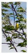 Yellow Finch And Flowers Bath Towel