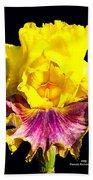 Yellow Flower On Black Bath Towel