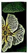 Yellow Flower Woodcut Bath Towel