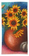 Yellow Flowers Bath Towel