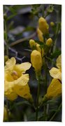 Yellow Jessamine With Raindrops Bath Towel