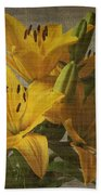 Yellow Lilies With Old Canvas Texture Background Bath Towel