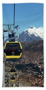 Yellow Line Cable Cars And Mt Illimani La Paz Bolivia Bath Towel