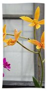 Yellow Orange And Purple Flowers Bath Towel