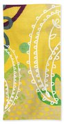 Yellow Paisley Garden Bath Towel