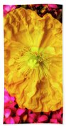 Yellow Poppy And Kalanchoe Flowers Bath Towel