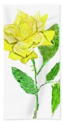 Yellow Rose, Painting Bath Towel