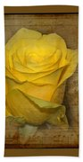 Yellow Rose With Old Notes Paper On The Background Bath Towel