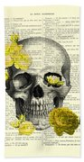 Skull With Yellow Roses Dictionary Art Print Hand Towel