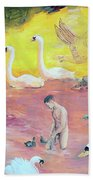 Yellow Swans With Love Potions Hand Towel by Rene Capone