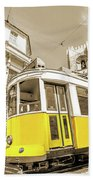 yellow tram Lisbon Bath Towel