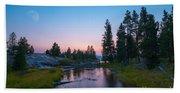Yellowstone National Park Sunset And Moon Bath Towel