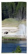 Yellowstone Park Bison In August Bath Towel