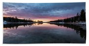 Yellowstone River Sunrise Colors Hand Towel
