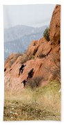 Young Climber In Red Rock Canyon Bath Towel