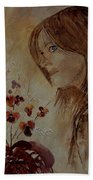 Young Girl And Flowers  Bath Towel