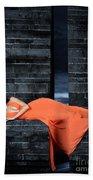 Young Woman In Long Orange Dress Bath Towel