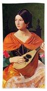 Young Woman With A Mandolin Bath Towel
