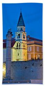 Zadar Landmarks Evening Vertical View Bath Towel