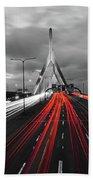 Zakim Bridge And Td Garden Boston Ma Red Tail Lights Bath Towel