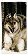 Zane Gray Wolf Bath Towel