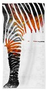Zebra Black White And Red Orange By Sharon Cummings  Bath Towel