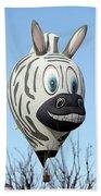 Zebra Hot Air Balloon At Balloon Fiesta Bath Towel