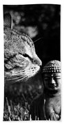 Zen Cat Black And White- Photography By Linda Woods Bath Towel