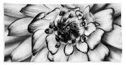 Zinnia Close Up In Black And White Bath Towel