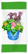 Zinnia Container Garden Bath Towel