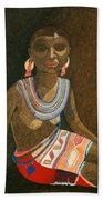 Zulu Woman With Beads Bath Towel