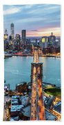 Aerial Of New York City  And Brooklyn Bridge At Dusk Hand Towel