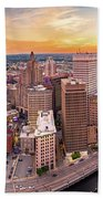 Aerial Panorama Of Providence, Rhode Island Hand Towel by Mihai Andritoiu