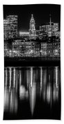 Boston Evening Skyline Of North End And Financial District - Monochrome Hand Towel