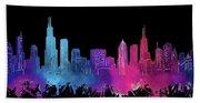 Chicago Skyline Watercolor 3 Bath Towel