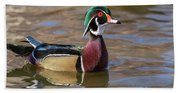 Curious Wood Duck Hand Towel