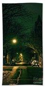 Dark Chicago City Street At Night Bath Towel
