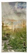 Digital Watercolor Painting Of Beautiful Vibrant Summer Sunrise  Hand Towel