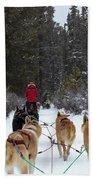 Dog Sledding Near Whitehorse Yukon Canada Bath Towel
