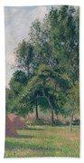 Haystacks, Morning, Eragny, 1899 Bath Towel