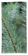 Moist Pine Tree Leaves With Water Droplets. Bath Towel