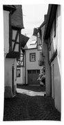 old historic street in Ediger Germany Bath Towel