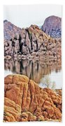 Prescott Arizona Watson Lake Rocks, Hills Water Sky Clouds 3122019 4868 Hand Towel